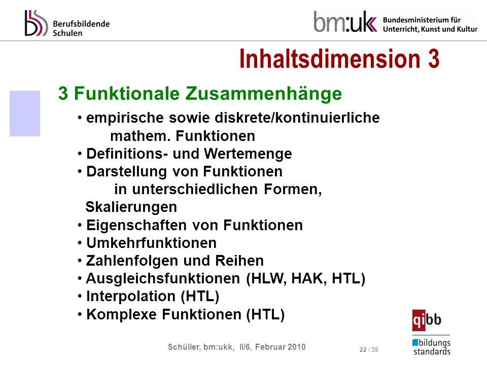 Schüller, bm:ukk, II/6, Februar 2010 22 / 35 3 Funktionale Zusammenhänge empirische sowie diskrete/kontinuierliche mathem. Funktionen Definitions- und