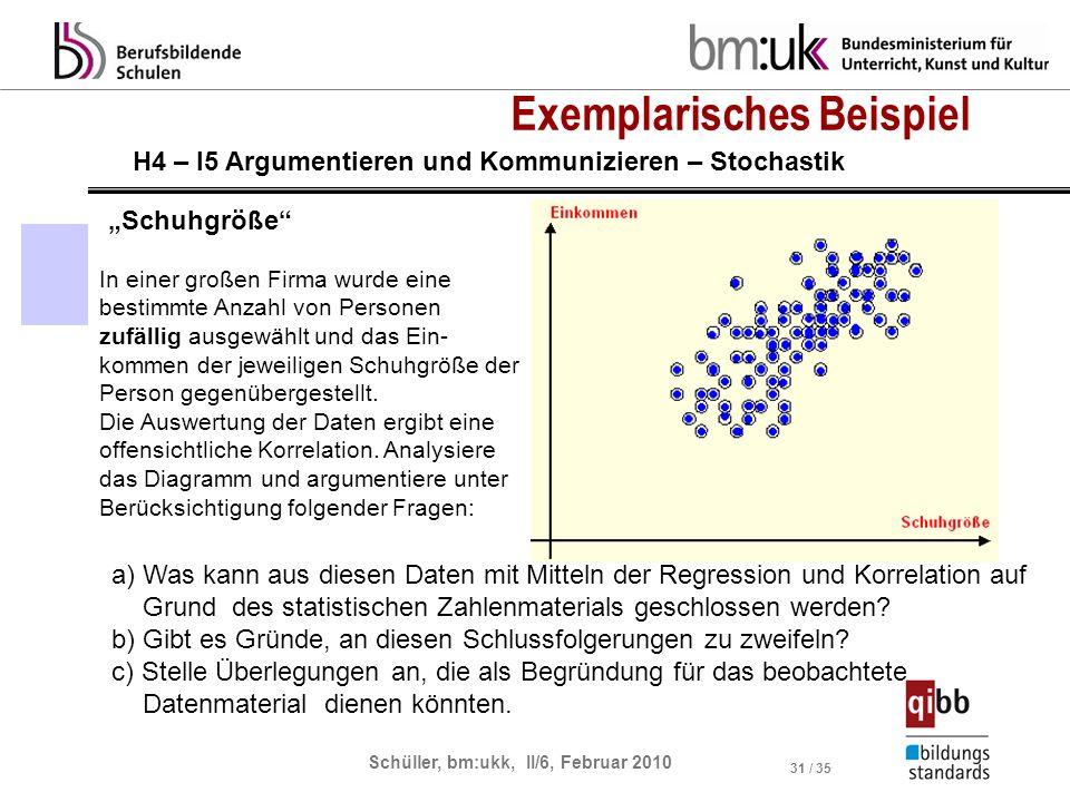 Schüller, bm:ukk, II/6, Februar 2010 31 / 35 Exemplarisches Beispiel Schuhgröße H4 – I5 Argumentieren und Kommunizieren – Stochastik In einer großen F
