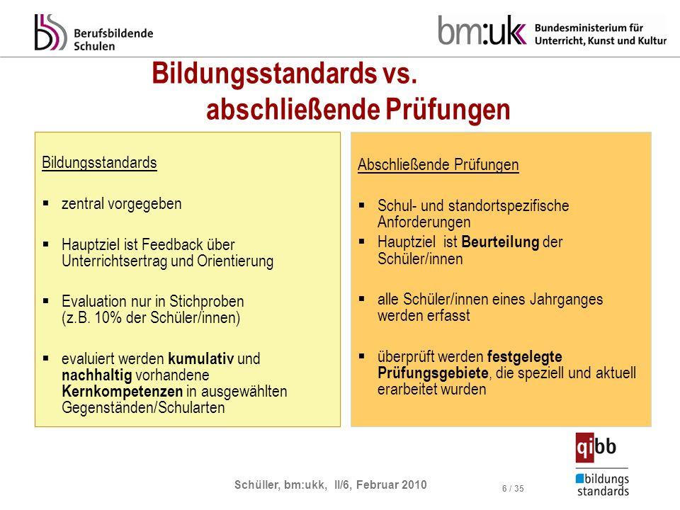 Schüller, bm:ukk, II/6, Februar 2010 6 / 35 Bildungsstandards vs. abschließende Prüfungen Bildungsstandards zentral vorgegeben Hauptziel ist Feedback