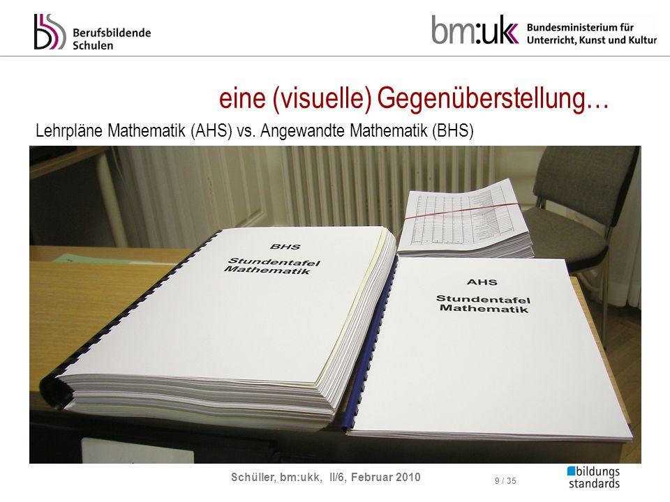 Schüller, bm:ukk, II/6, Februar 2010 9 / 35 eine (visuelle) Gegenüberstellung… Lehrpläne Mathematik (AHS) vs. Angewandte Mathematik (BHS)