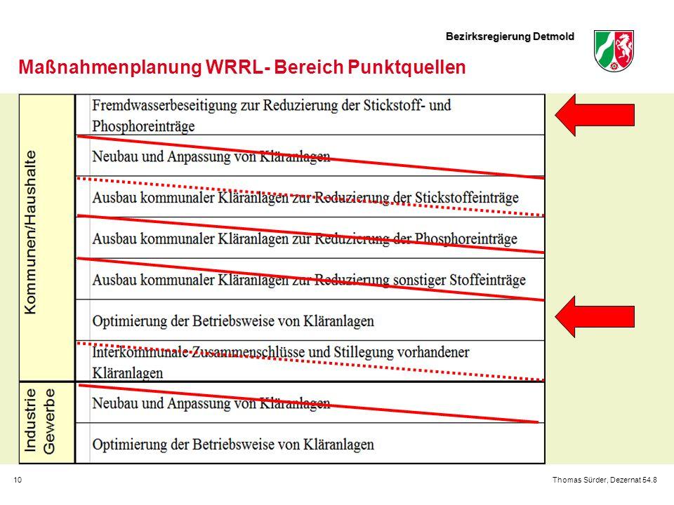 Bezirksregierung Detmold 10Thomas Sürder, Dezernat 54.8 Maßnahmenplanung WRRL- Bereich Punktquellen