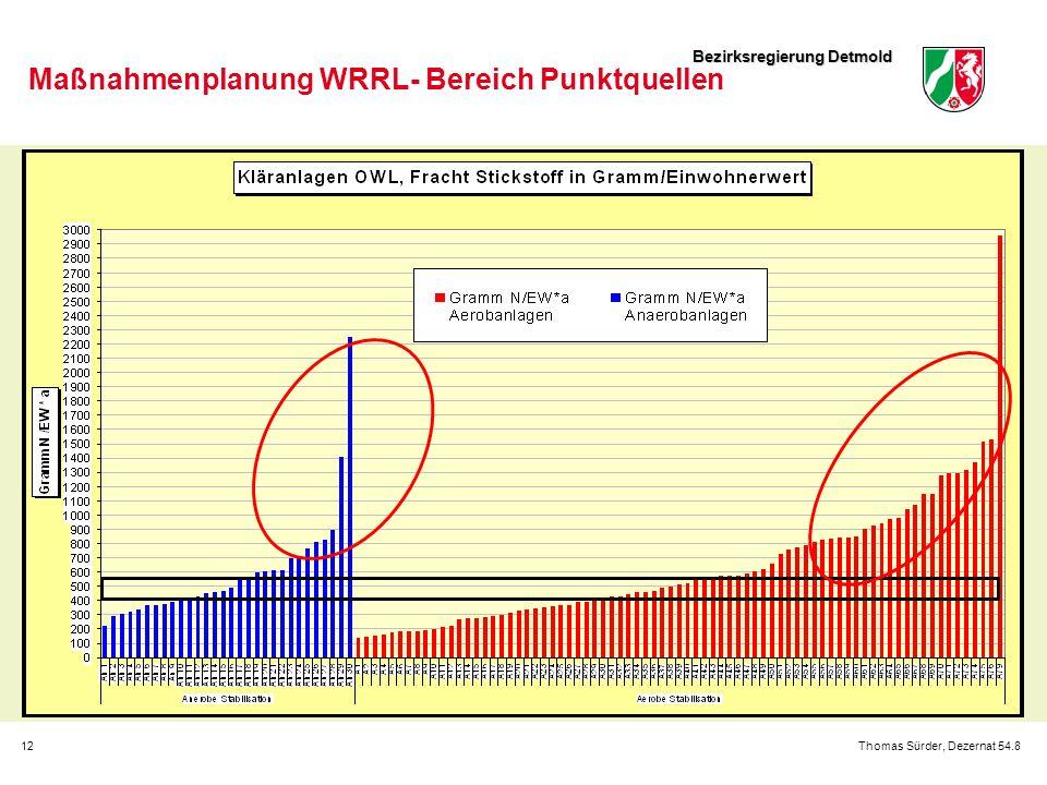 Bezirksregierung Detmold 12Thomas Sürder, Dezernat 54.8 Maßnahmenplanung WRRL- Bereich Punktquellen