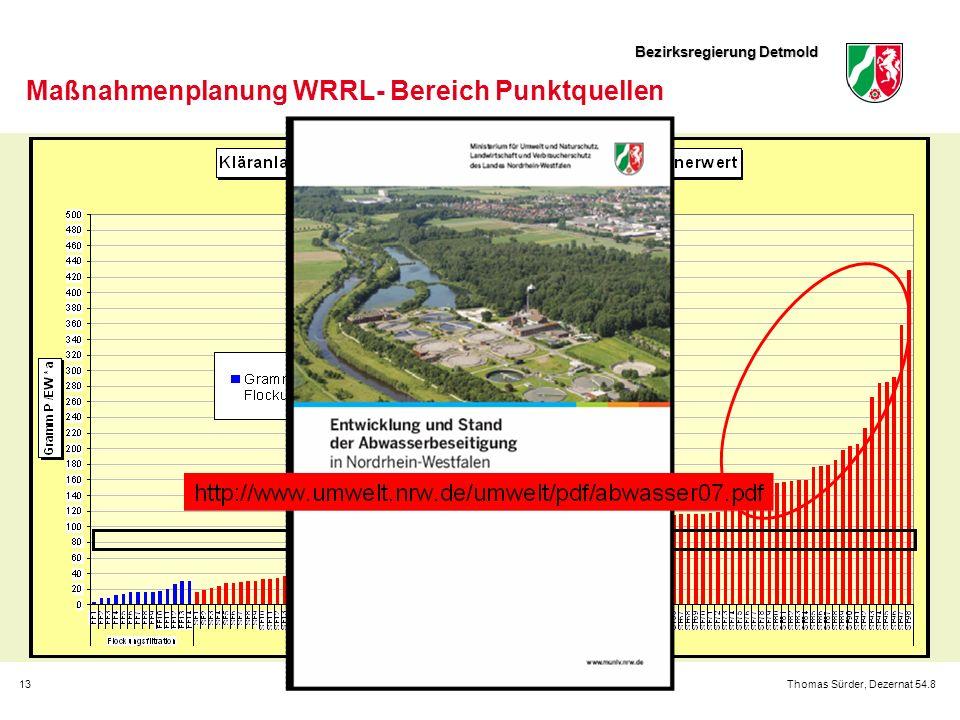 Bezirksregierung Detmold 13Thomas Sürder, Dezernat 54.8 Maßnahmenplanung WRRL- Bereich Punktquellen