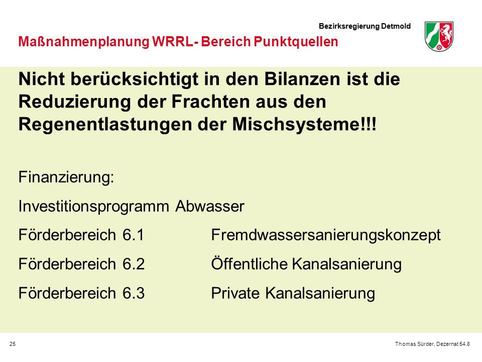 Bezirksregierung Detmold 25Thomas Sürder, Dezernat 54.8 Maßnahmenplanung WRRL- Bereich Punktquellen Finanzierung: Investitionsprogramm Abwasser Förder