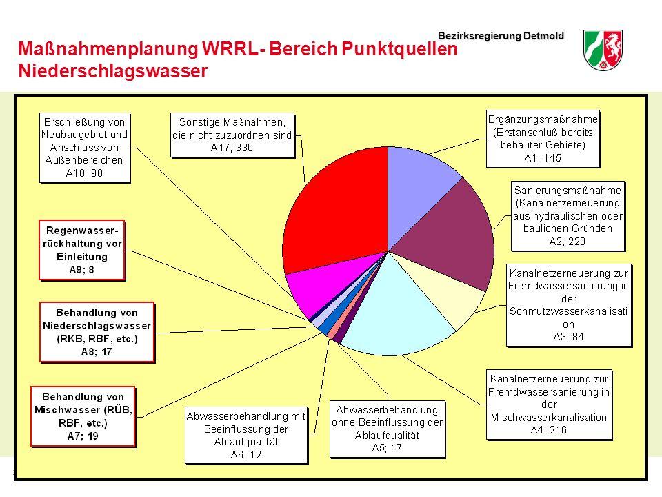 Bezirksregierung Detmold 28Thomas Sürder, Dezernat 54.8 Maßnahmenplanung WRRL- Bereich Punktquellen Niederschlagswasser