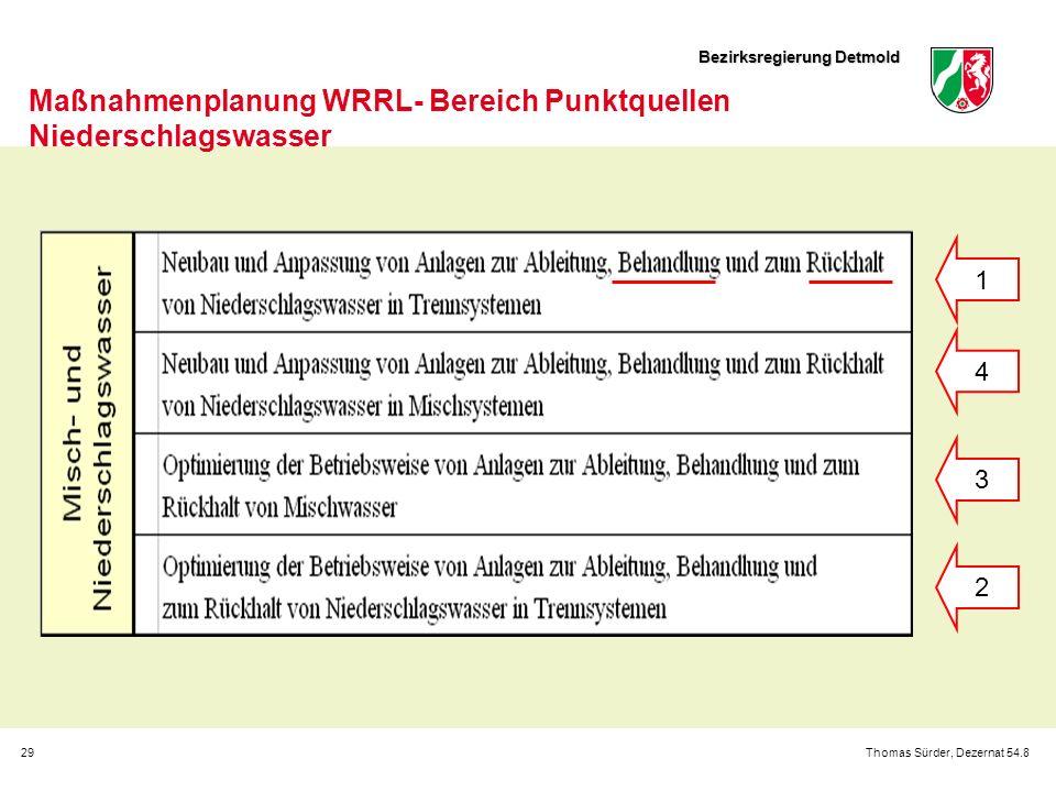 Bezirksregierung Detmold 29Thomas Sürder, Dezernat 54.8 Maßnahmenplanung WRRL- Bereich Punktquellen Niederschlagswasser 1 4 3 2