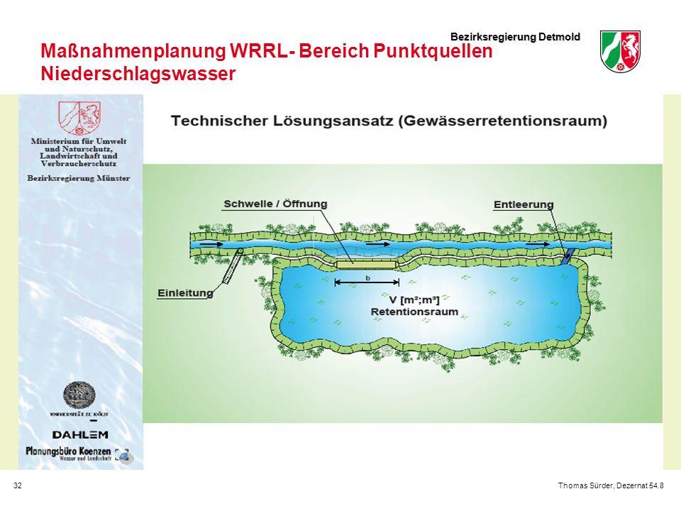 Bezirksregierung Detmold 32Thomas Sürder, Dezernat 54.8 Maßnahmenplanung WRRL- Bereich Punktquellen Niederschlagswasser