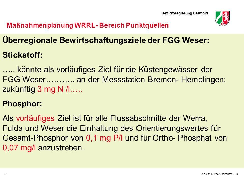 Bezirksregierung Detmold 5Thomas Sürder, Dezernat 54.8 Maßnahmenplanung WRRL- Bereich Punktquellen Überregionale Bewirtschaftungsziele der FGG Weser: