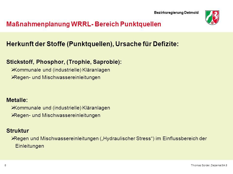Bezirksregierung Detmold 8Thomas Sürder, Dezernat 54.8 Maßnahmenplanung WRRL- Bereich Punktquellen Herkunft der Stoffe (Punktquellen), Ursache für Def