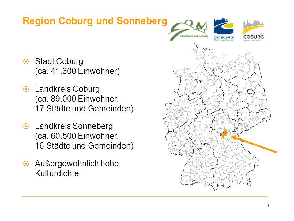 3 Region Coburg und Sonneberg Stadt Coburg (ca. 41.300 Einwohner) Landkreis Coburg (ca. 89.000 Einwohner, 17 Städte und Gemeinden) Landkreis Sonneberg