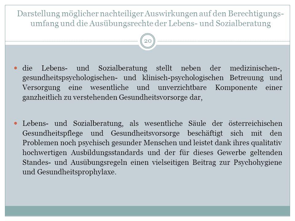 Darstellung möglicher nachteiliger Auswirkungen auf den Berechtigungs- umfang und die Ausübungsrechte der Lebens- und Sozialberatung 20 die Lebens- und Sozialberatung stellt neben der medizinischen-, gesundheitspsychologischen- und klinisch-psychologischen Betreuung und Versorgung eine wesentliche und unverzichtbare Komponente einer ganzheitlich zu verstehenden Gesundheitsvorsorge dar, Lebens- und Sozialberatung, als wesentliche Säule der österreichischen Gesundheitspflege und Gesundheitsvorsorge beschäftigt sich mit den Problemen noch psychisch gesunder Menschen und leistet dank ihres qualitativ hochwertigen Ausbildungsstandards und der für dieses Gewerbe geltenden Standes- und Ausübungsregeln einen vielseitigen Beitrag zur Psychohygiene und Gesundheitsprophylaxe.