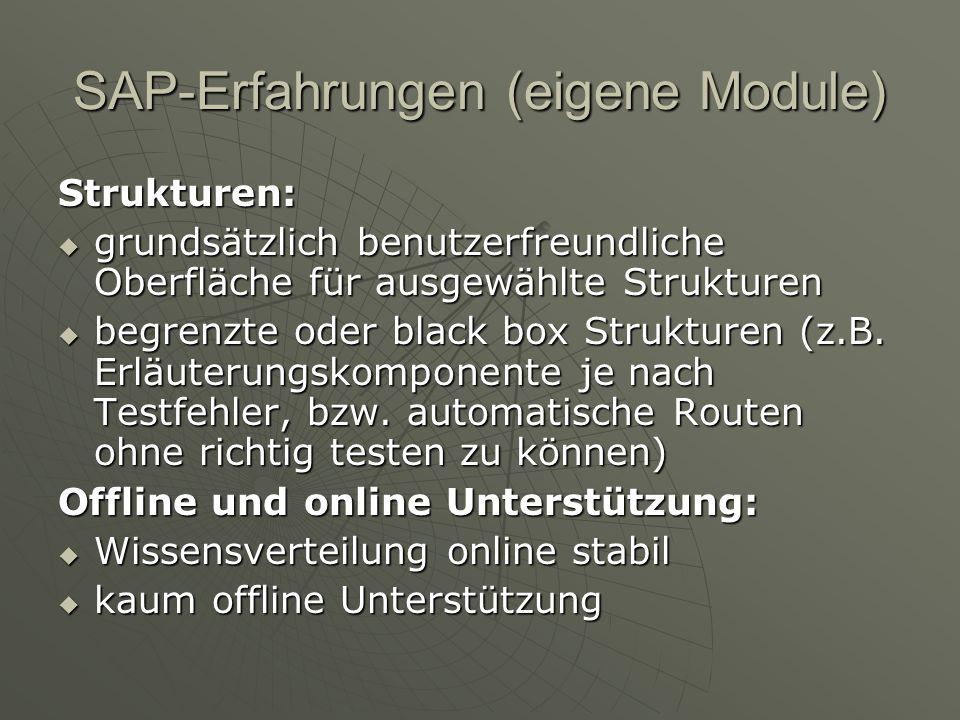 SAP-Erfahrungen (eigene Module) Strukturen: grundsätzlich benutzerfreundliche Oberfläche für ausgewählte Strukturen grundsätzlich benutzerfreundliche Oberfläche für ausgewählte Strukturen begrenzte oder black box Strukturen (z.B.