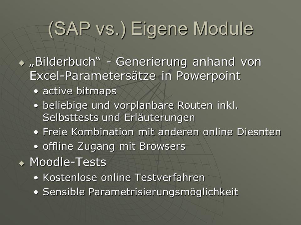 (SAP vs.) Eigene Module Bilderbuch - Generierung anhand von Excel-Parametersätze in Powerpoint Bilderbuch - Generierung anhand von Excel-Parametersätze in Powerpoint active bitmapsactive bitmaps beliebige und vorplanbare Routen inkl.