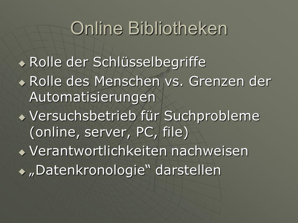 Online Bibliotheken Rolle der Schlüsselbegriffe Rolle der Schlüsselbegriffe Rolle des Menschen vs.