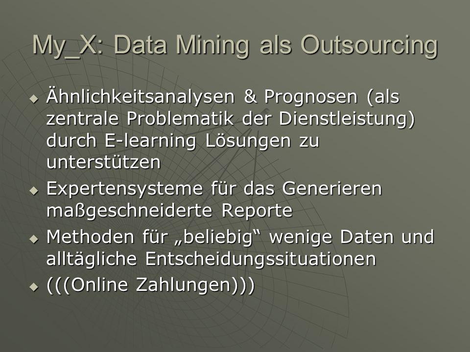 My_X: Data Mining als Outsourcing Ähnlichkeitsanalysen & Prognosen (als zentrale Problematik der Dienstleistung) durch E-learning Lösungen zu unterstützen Ähnlichkeitsanalysen & Prognosen (als zentrale Problematik der Dienstleistung) durch E-learning Lösungen zu unterstützen Expertensysteme für das Generieren maßgeschneiderte Reporte Expertensysteme für das Generieren maßgeschneiderte Reporte Methoden für beliebig wenige Daten und alltägliche Entscheidungssituationen Methoden für beliebig wenige Daten und alltägliche Entscheidungssituationen (((Online Zahlungen))) (((Online Zahlungen)))