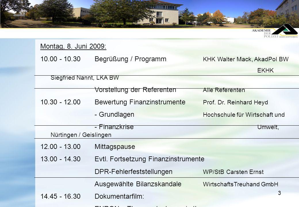 3 Montag, 8. Juni 2009: 10.00 - 10.30 Begrüßung / Programm KHK Walter Mack, AkadPol BW EKHK Siegfried Nannt, LKA BW Vorstellung der Referenten Alle Re