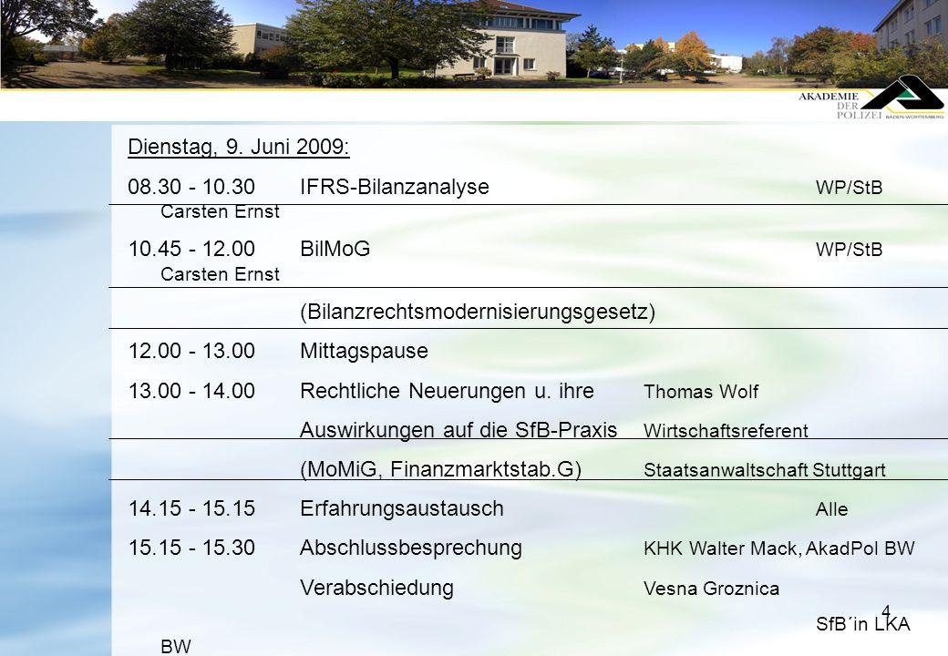 4 Dienstag, 9. Juni 2009: 08.30 - 10.30IFRS-Bilanzanalyse WP/StB Carsten Ernst 10.45 - 12.00BilMoG WP/StB Carsten Ernst (Bilanzrechtsmodernisierungsge