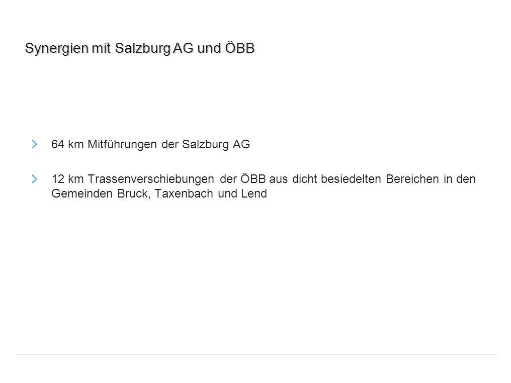 Synergien mit Salzburg AG und ÖBB 64 km Mitführungen der Salzburg AG 12 km Trassenverschiebungen der ÖBB aus dicht besiedelten Bereichen in den Gemein