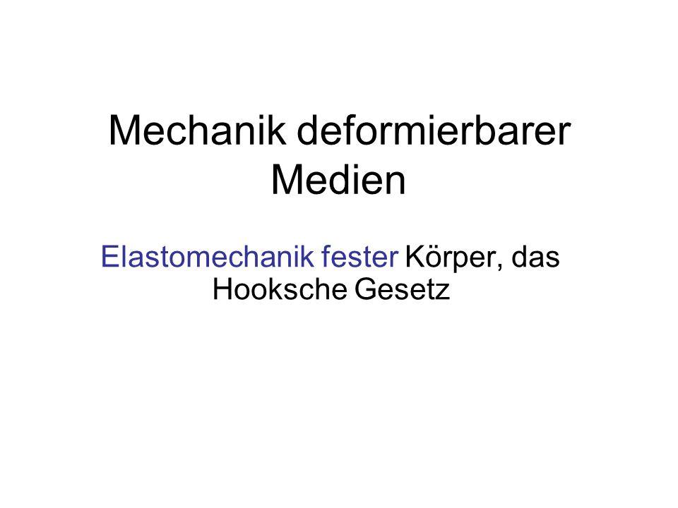 Mechanik deformierbarer Medien Elastomechanik fester Körper, das Hooksche Gesetz