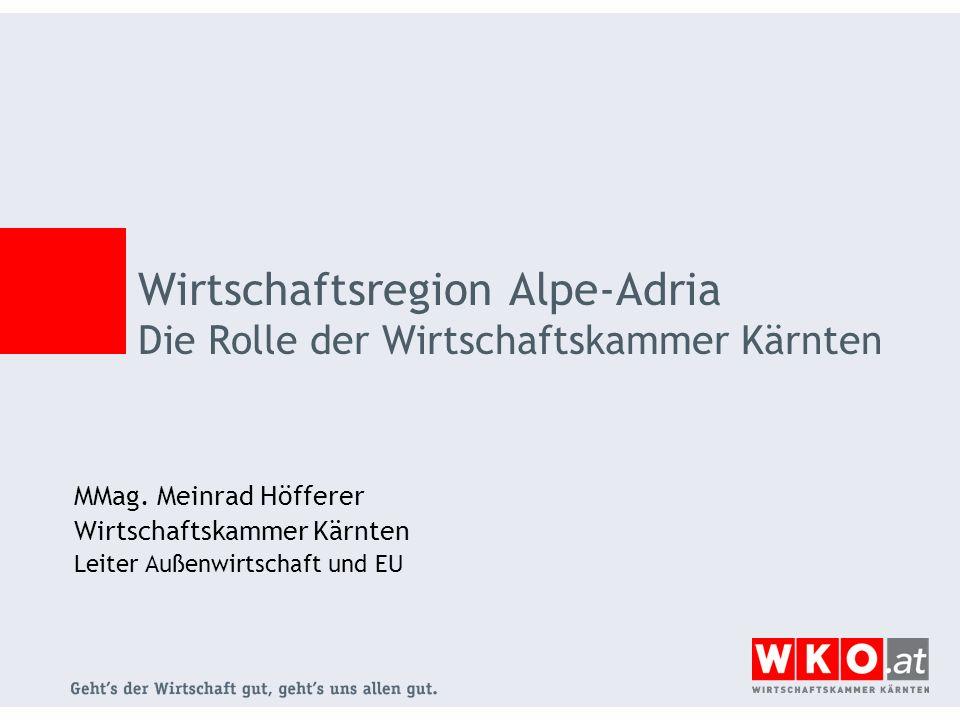 MMag. Meinrad Höfferer Wirtschaftskammer Kärnten Leiter Außenwirtschaft und EU Wirtschaftsregion Alpe-Adria Die Rolle der Wirtschaftskammer Kärnten