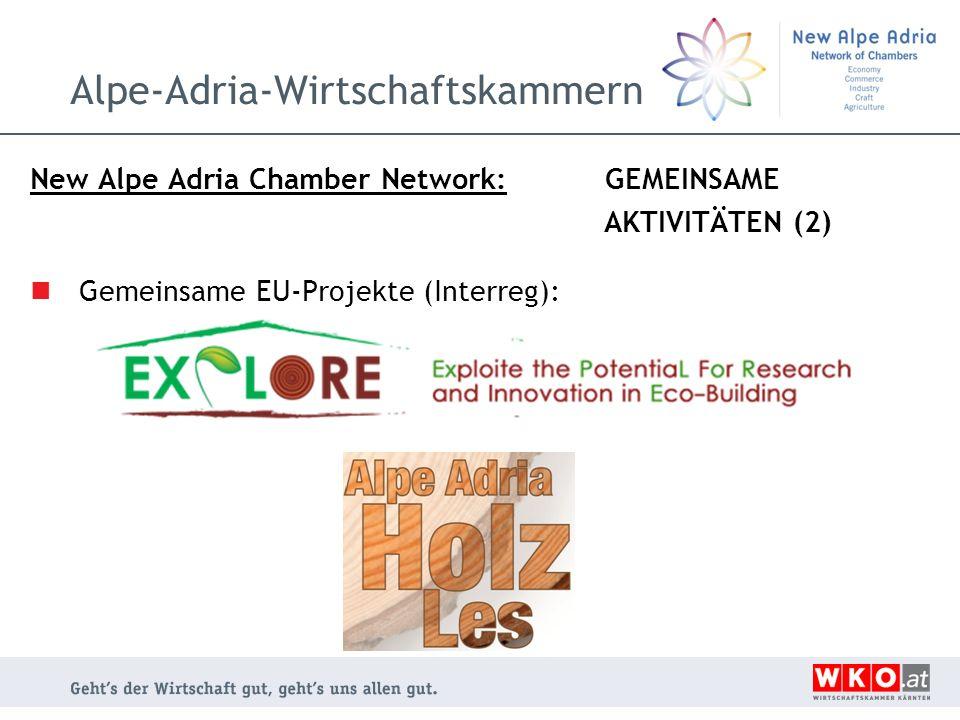 Alpe-Adria-Wirtschaftskammern New Alpe Adria Chamber Network: GEMEINSAME AKTIVITÄTEN (2) Gemeinsame EU-Projekte (Interreg):