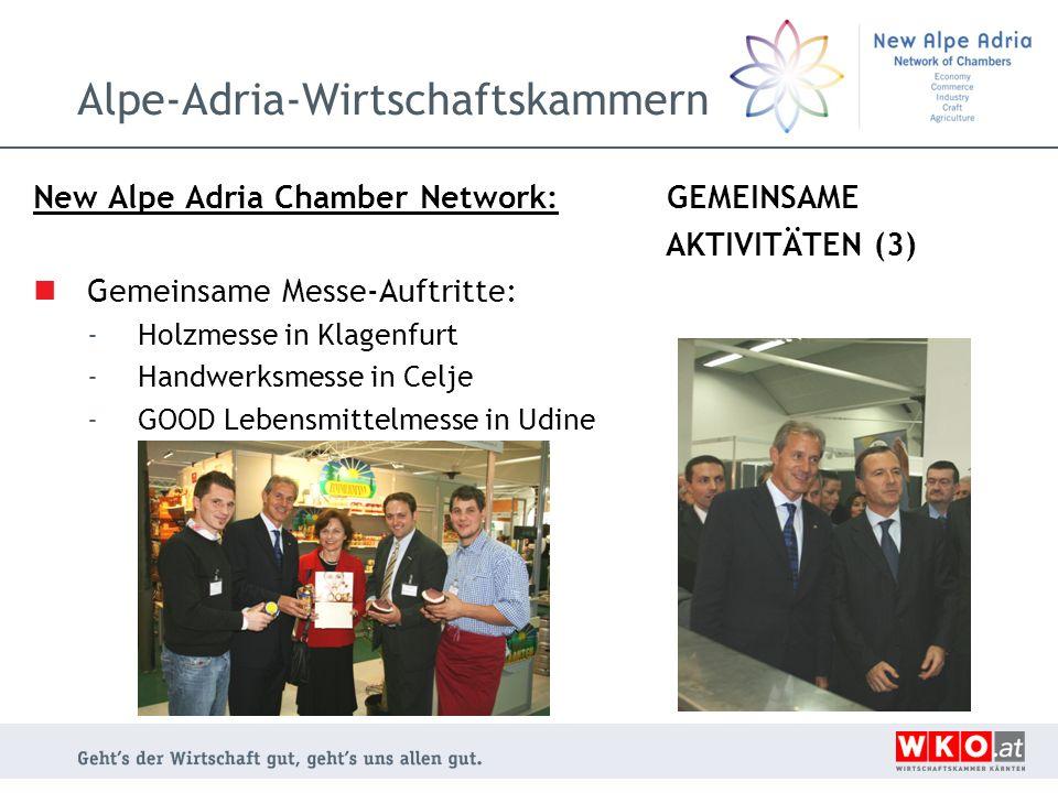 Alpe-Adria-Wirtschaftskammern New Alpe Adria Chamber Network: GEMEINSAME AKTIVITÄTEN (3) Gemeinsame Messe-Auftritte: -Holzmesse in Klagenfurt -Handwer