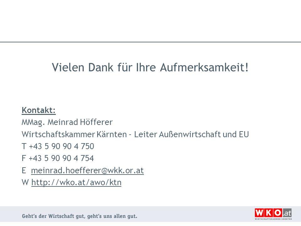 Vielen Dank für Ihre Aufmerksamkeit! Kontakt: MMag. Meinrad Höfferer Wirtschaftskammer Kärnten - Leiter Außenwirtschaft und EU T +43 5 90 90 4 750 F +