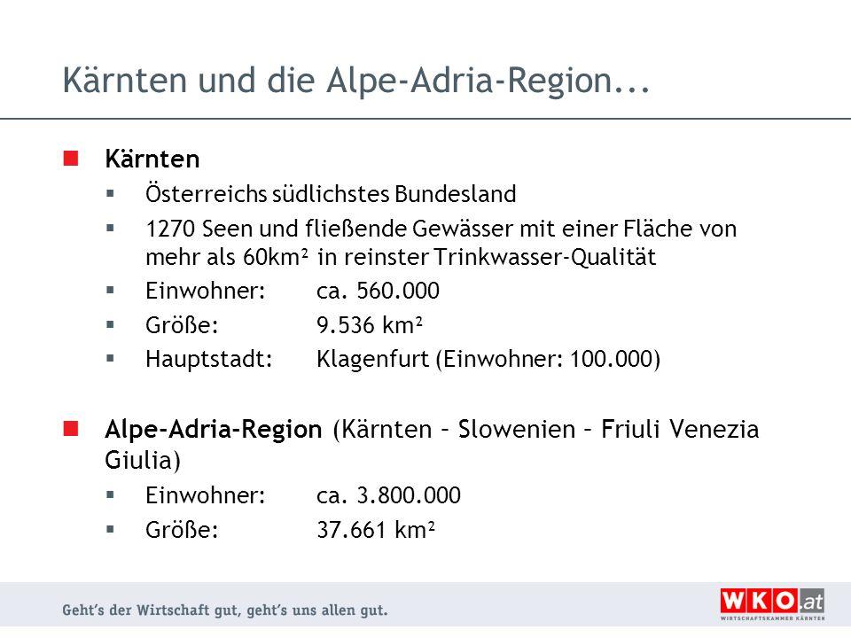 Die Wirtschaftskammmer Kärnten in Zahlen Interessensvertretung für 28.000 Unternehmen in Kärnten mit über 200.000 Mitarbeitern 4.000 Telefonanrufe täglich 120.000 Beratungen jährlich im Service-Bereich 2.100 WIFI-Kurse mit 28.000 Teilnehmern jährlich 3.000 Firmen mit 9.000 Trainings-Teilnehmern 60 Presse-Konferenzen jährlich 400 Veranstaltungen jährlich Mitglied der Alpe-Adria-Wirtschaftskammern