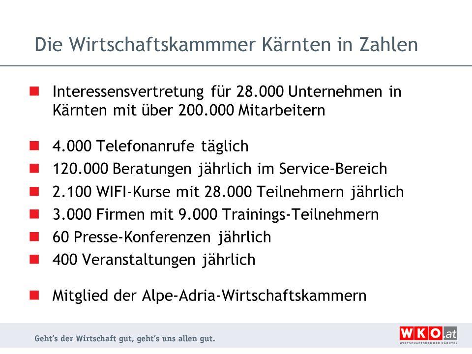 Die Wirtschaftskammmer Kärnten in Zahlen Interessensvertretung für 28.000 Unternehmen in Kärnten mit über 200.000 Mitarbeitern 4.000 Telefonanrufe täg