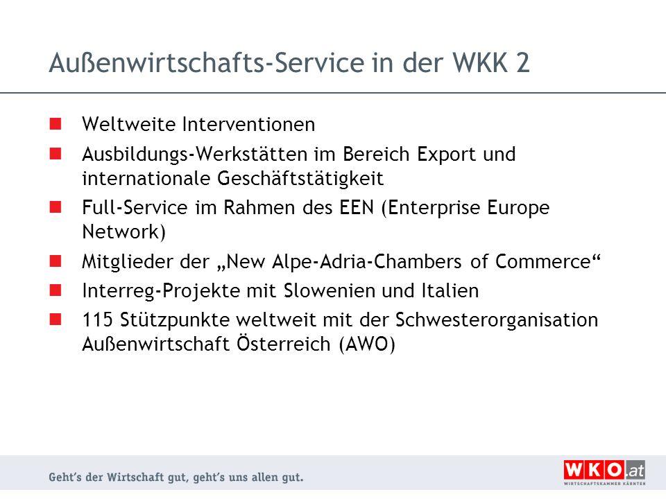 Außenwirtschafts-Service in der WKK 2 Weltweite Interventionen Ausbildungs-Werkstätten im Bereich Export und internationale Geschäftstätigkeit Full-Se