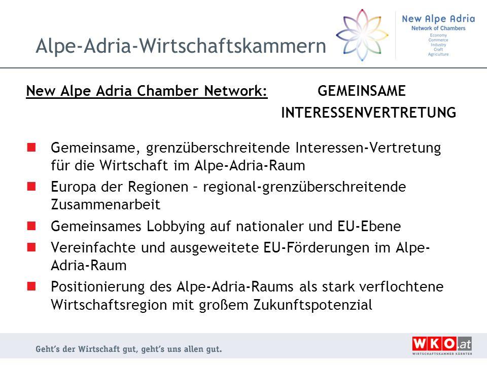 Alpe-Adria-Wirtschaftskammern New Alpe Adria Chamber Network: GEMEINSAME INTERESSENVERTRETUNG Gemeinsame, grenzüberschreitende Interessen-Vertretung f
