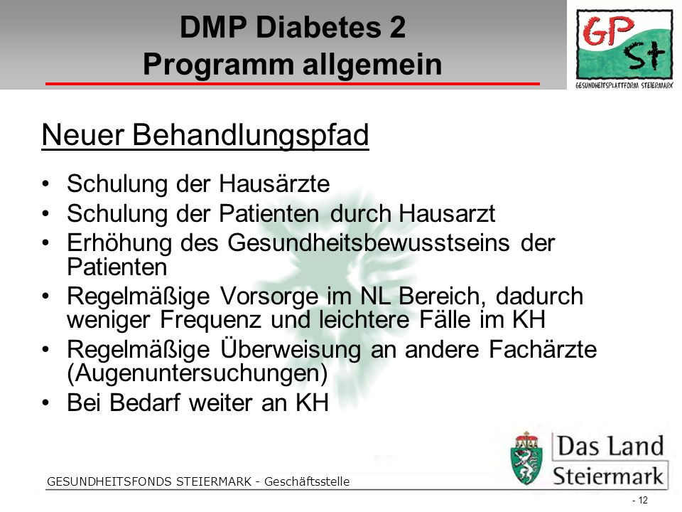 Folientitel GESUNDHEITSFONDS STEIERMARK - Geschäftsstelle DMP Diabetes 2 Programm allgemein - 12 - Neuer Behandlungspfad Schulung der Hausärzte Schulu