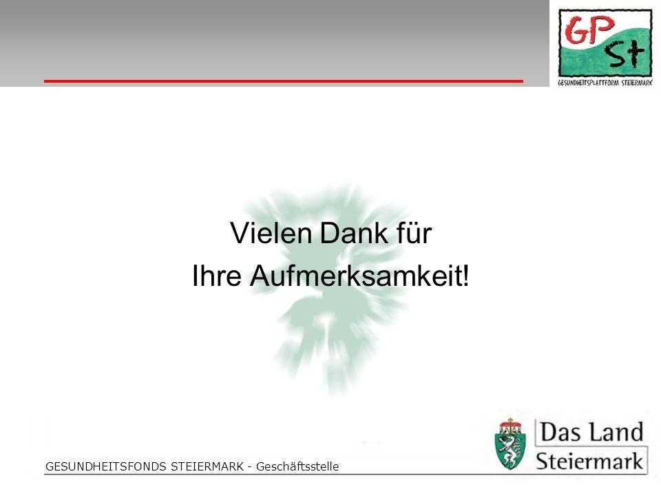 Folientitel GESUNDHEITSFONDS STEIERMARK - Geschäftsstelle Vielen Dank für Ihre Aufmerksamkeit!