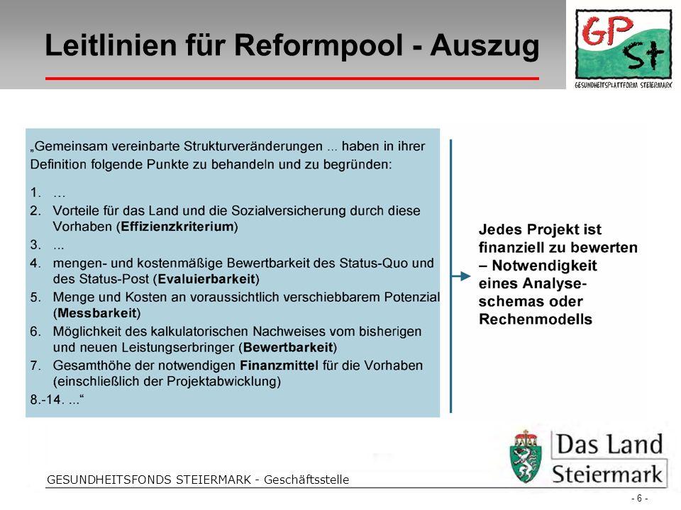 Strohriegel Folientitel GESUNDHEITSFONDS STEIERMARK - Geschäftsstelle Leitlinien für Reformpool - Auszug - 6 -