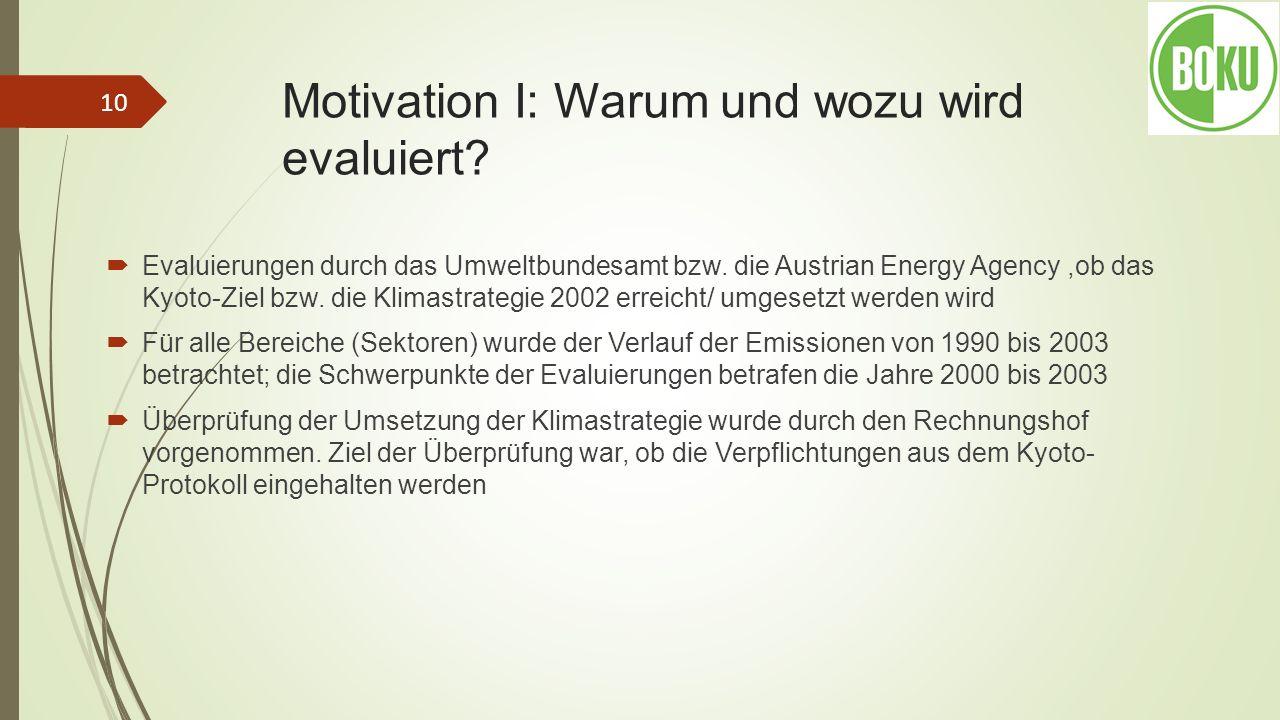 Motivation I: Warum und wozu wird evaluiert? Evaluierungen durch das Umweltbundesamt bzw. die Austrian Energy Agency,ob das Kyoto-Ziel bzw. die Klimas
