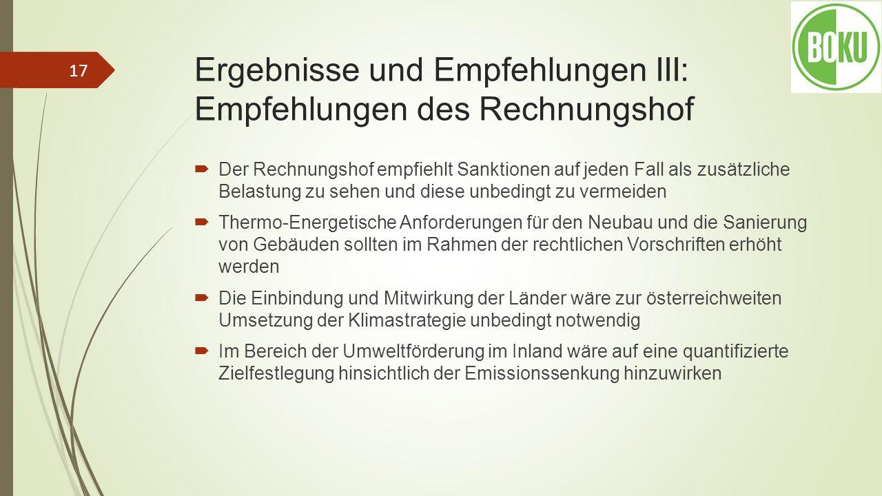 Ergebnisse und Empfehlungen III: Empfehlungen des Rechnungshof Der Rechnungshof empfiehlt Sanktionen auf jeden Fall als zusätzliche Belastung zu sehen