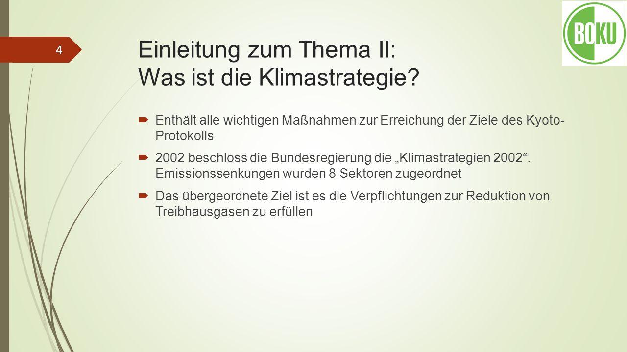 Einleitung zum Thema II: Was ist die Klimastrategie? Enthält alle wichtigen Maßnahmen zur Erreichung der Ziele des Kyoto- Protokolls 2002 beschloss di