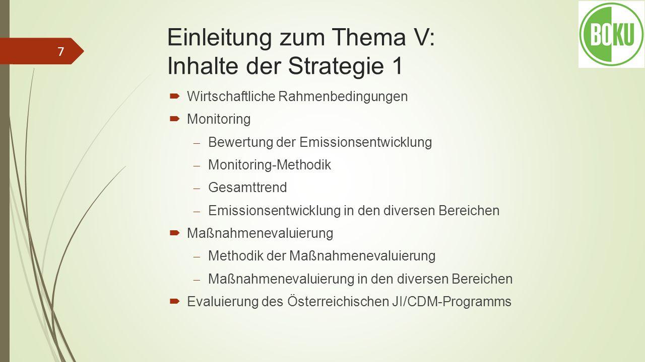 Einleitung zum Thema V: Inhalte der Strategie 1 Wirtschaftliche Rahmenbedingungen Monitoring Bewertung der Emissionsentwicklung Monitoring-Methodik Ge