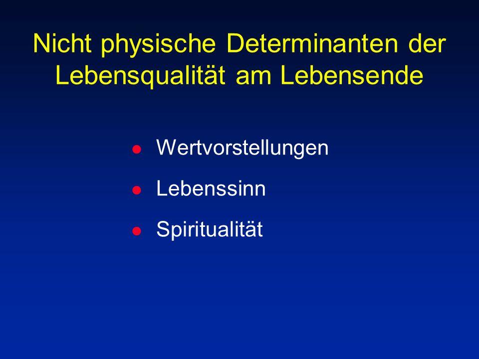 Nicht physische Determinanten der Lebensqualität am Lebensende l Wertvorstellungen l Lebenssinn l Spiritualität