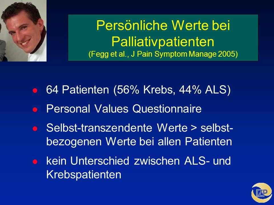 Persönliche Werte bei Palliativpatienten (Fegg et al., J Pain Symptom Manage 2005) l 64 Patienten (56% Krebs, 44% ALS) l Personal Values Questionnaire