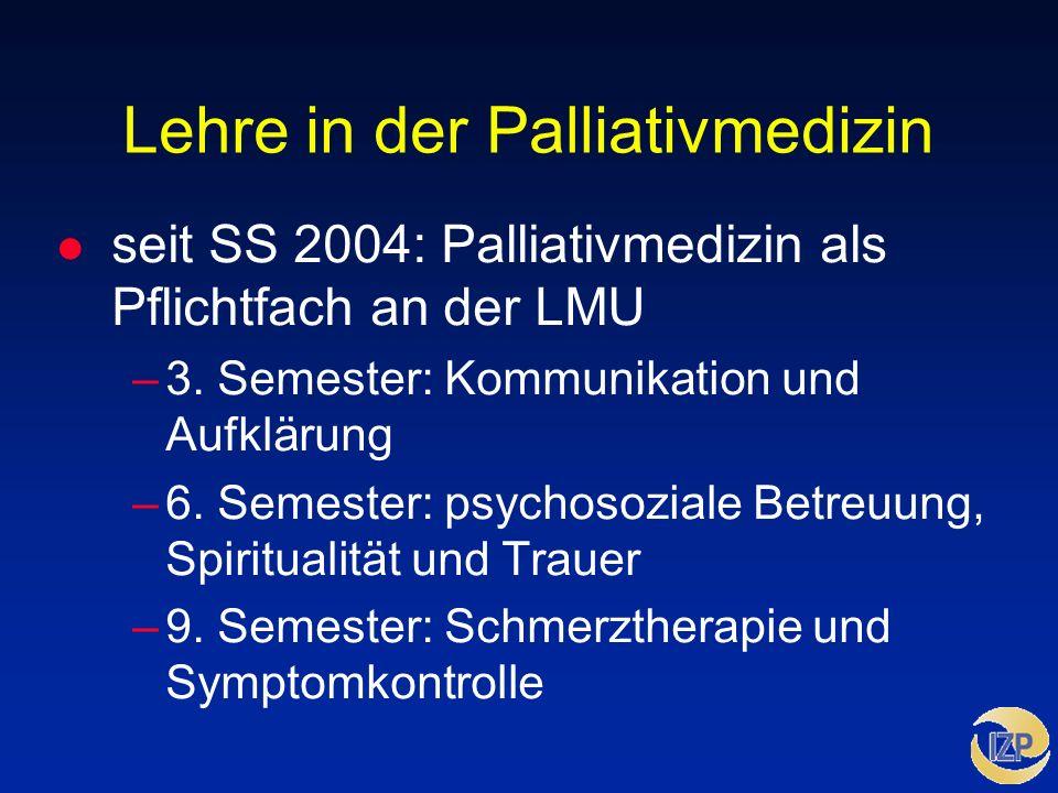 Lehre in der Palliativmedizin l seit SS 2004: Palliativmedizin als Pflichtfach an der LMU –3. Semester: Kommunikation und Aufklärung –6. Semester: psy