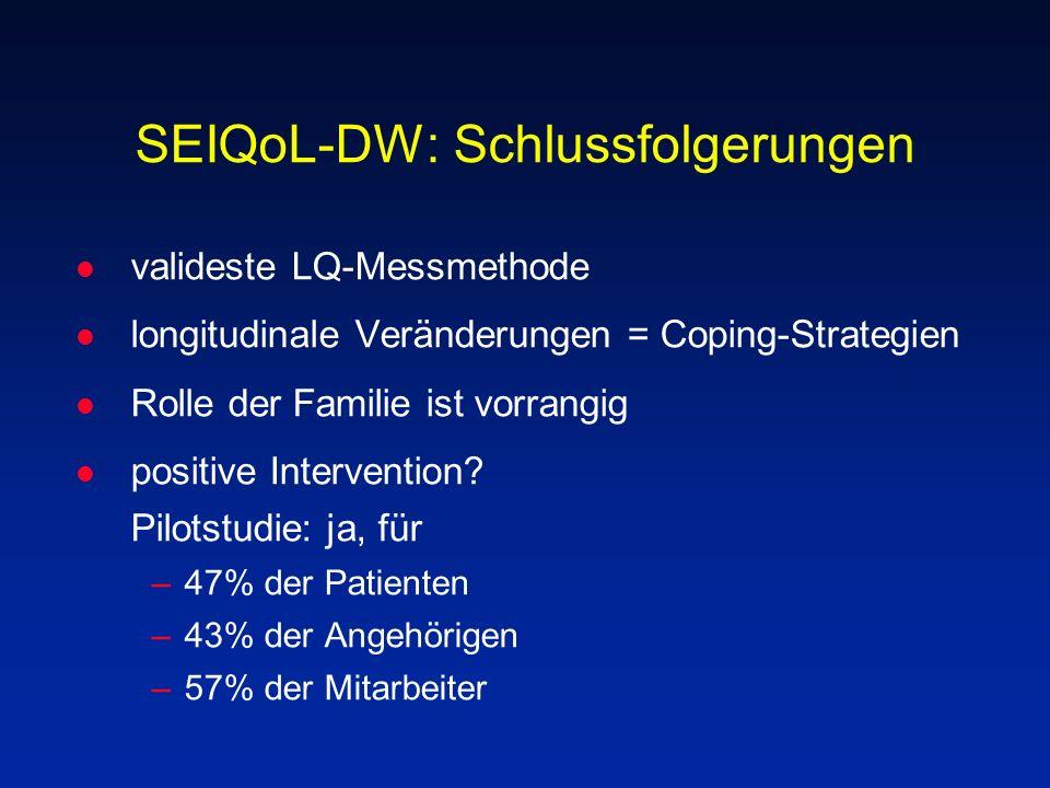 SEIQoL-DW: Schlussfolgerungen l valideste LQ-Messmethode l longitudinale Veränderungen = Coping-Strategien l Rolle der Familie ist vorrangig l positiv