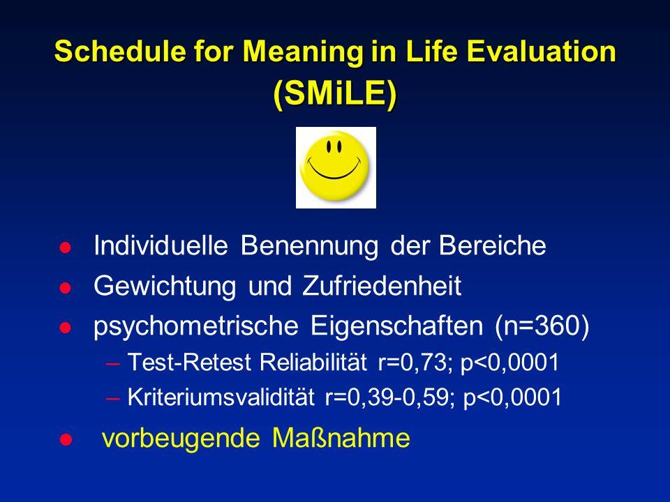 Schedule for Meaning in Life Evaluation l Individuelle Benennung der Bereiche l Gewichtung und Zufriedenheit l psychometrische Eigenschaften (n=360) –