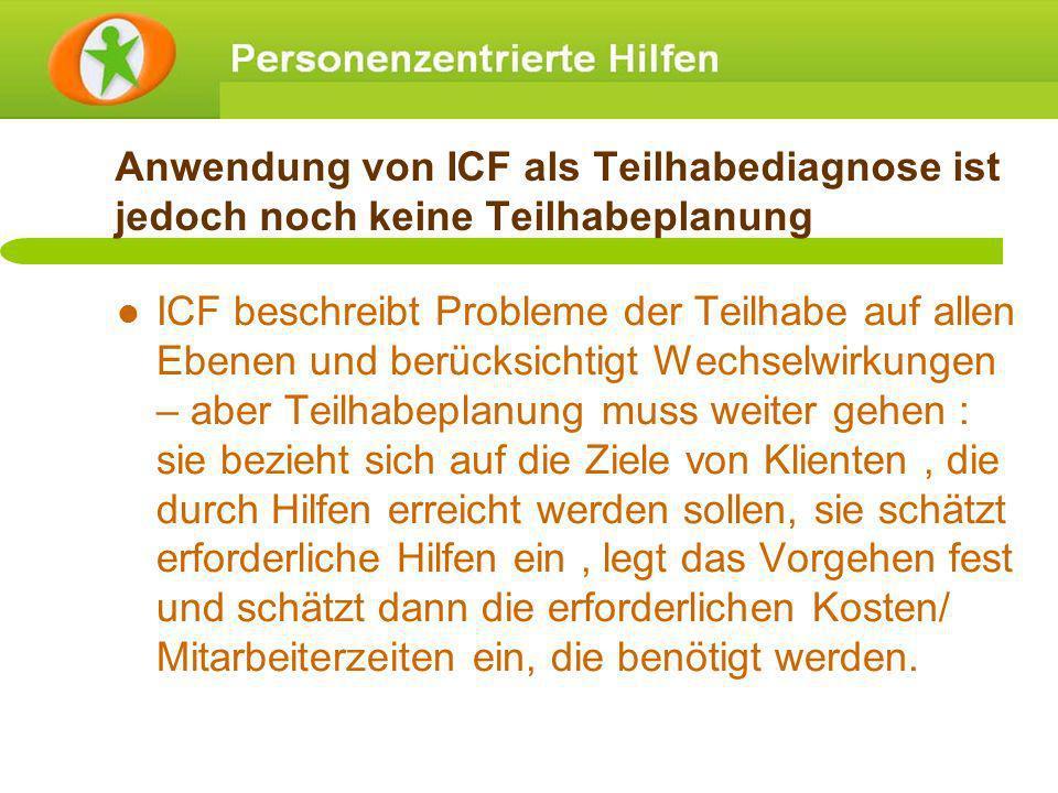 Anwendung von ICF als Teilhabediagnose ist jedoch noch keine Teilhabeplanung ICF beschreibt Probleme der Teilhabe auf allen Ebenen und berücksichtigt