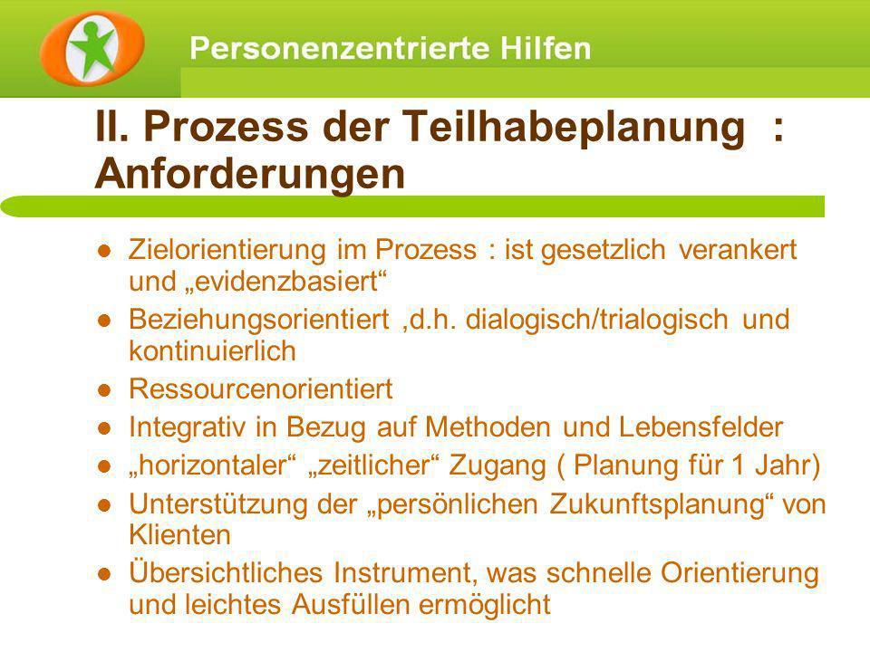 II. Prozess der Teilhabeplanung : Anforderungen Zielorientierung im Prozess : ist gesetzlich verankert und evidenzbasiert Beziehungsorientiert,d.h. di