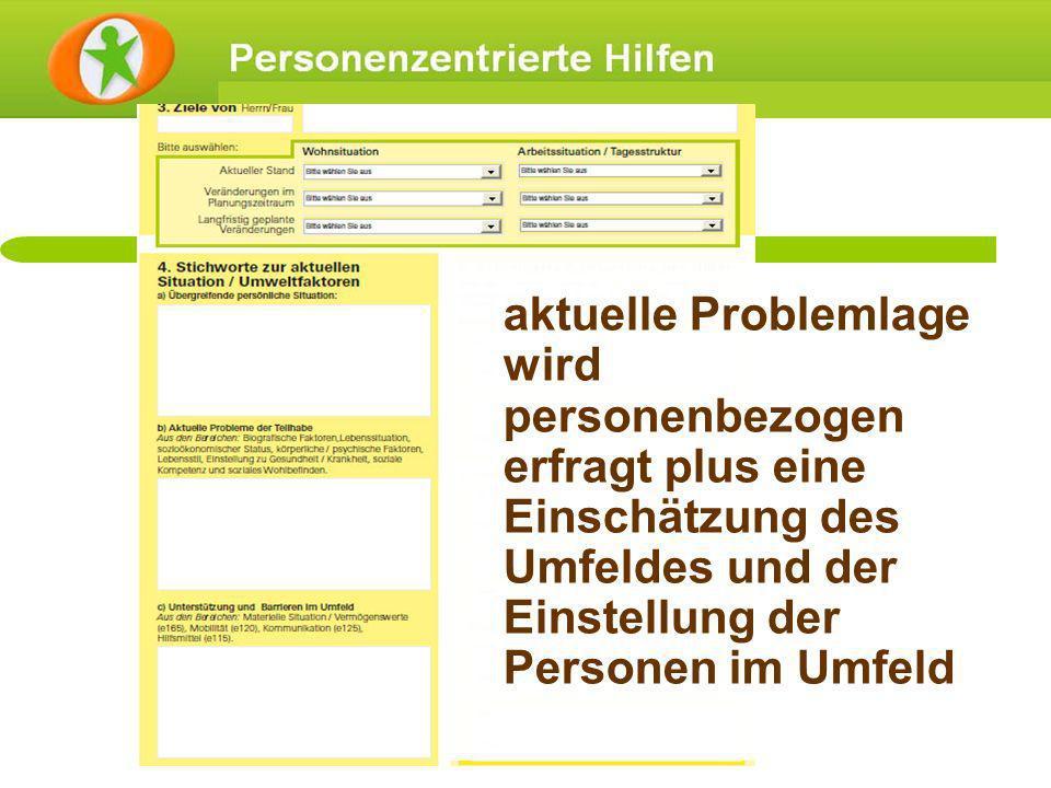 aktuelle Problemlage wird personenbezogen erfragt plus eine Einschätzung des Umfeldes und der Einstellung der Personen im Umfeld