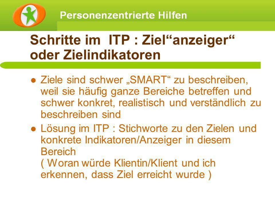 Schritte im ITP : Zielanzeiger oder Zielindikatoren Ziele sind schwer SMART zu beschreiben, weil sie häufig ganze Bereiche betreffen und schwer konkre