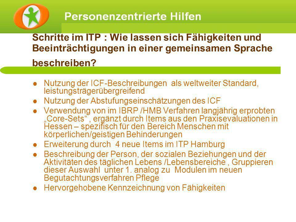 Schritte im ITP : Wie lassen sich Fähigkeiten und Beeinträchtigungen in einer gemeinsamen Sprache beschreiben? Nutzung der ICF-Beschreibungen als welt