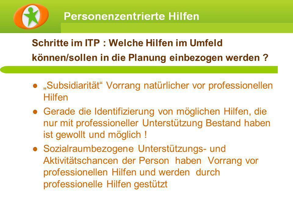 Schritte im ITP : Welche Hilfen im Umfeld können/sollen in die Planung einbezogen werden ? Subsidiarität Vorrang natürlicher vor professionellen Hilfe