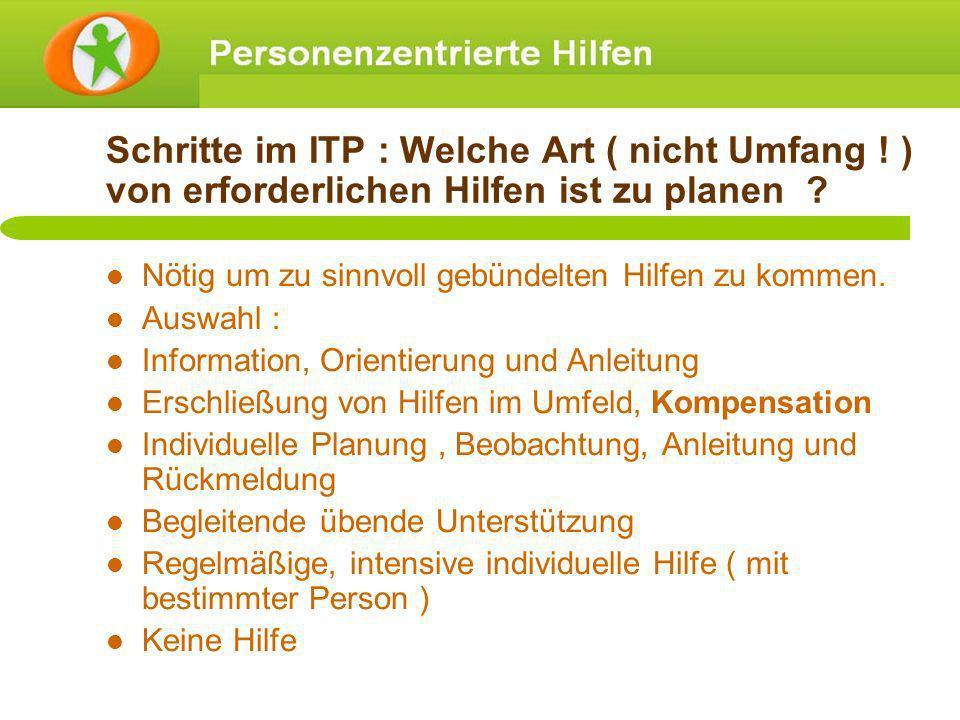 Schritte im ITP : Welche Art ( nicht Umfang ! ) von erforderlichen Hilfen ist zu planen ? Nötig um zu sinnvoll gebündelten Hilfen zu kommen. Auswahl :